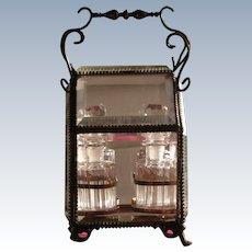 French Perfume Bottle Set Four Bottles in Beveled Glass Box