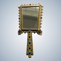 Hand Mirror Austrian Jeweled Mirror Faux Gems 1920's