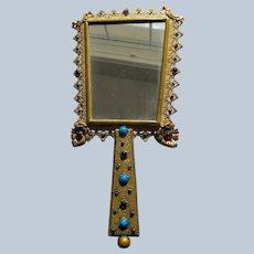 Hand Mirror Austrian Jeweled Mirror Faux Gems 1920's