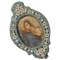 Micro Mosaic Frame Shaped like a Hand Mirror Italy 1900