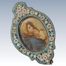 Micro Mosaic Frame Shaped like a Hand Mirror Italy 1900