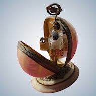 Palais Royal Perfume Bottle Holder Mother of Pearl Alabaster and Bronze Base