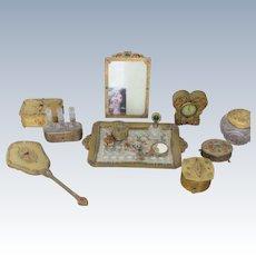 Vanity Set Jeweled Perfume Bottles Vanity Tray Boxes Jars Mirrors Clock and Frame