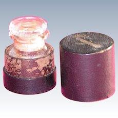Vinaigrette  in Leather Box Glass Bottle Held Smelling Salts