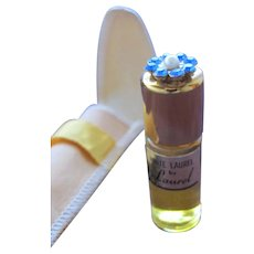 Perfume Bottle in Pouch White Laurel by Laurel Mini 1950's