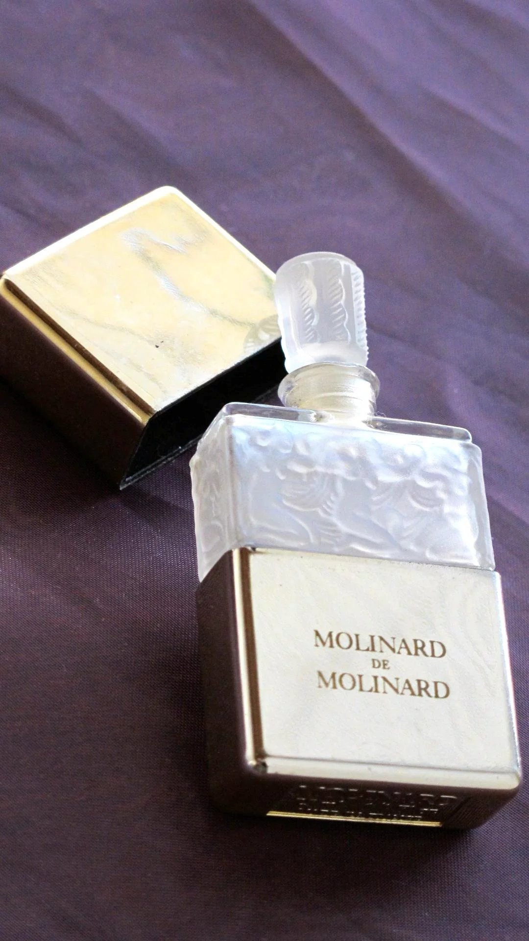 Molinard Perfume Bottle Vintage Frosted Glass With Nudes 1980 Free  Time In A Bottle -1299