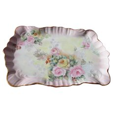 Limoges Porcelain Tray with Roses in Pinks 1908 Hand Painted