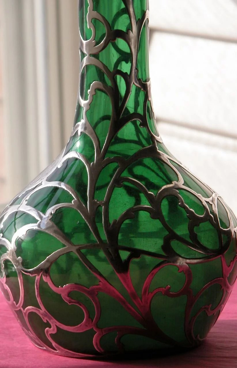 Vase sterling silver over lay with emerald green glass turn of the click to expand reviewsmspy