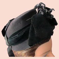 Victorian Black Hat Small for Bebe Doll or Collector Civil War Era