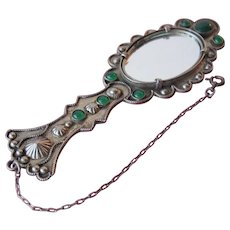 Antique Chatelaine Hand Mirror Jeweled Green Glass Cabochons with Chain Marked Italy 1900