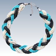 Vintage Necklace Turquoise Beads Freshwater Pearls and Black Crystal Beads Sterling Silver