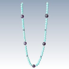 Glass Beaded Necklace Aqua and Purple Beads