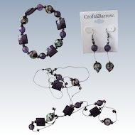 Jewelry Set  Necklace Bracelet Earrings of Murano Glass Beads