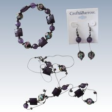 Necklace Bracelet Earrings Three Piece Set with Glass Murano Beads