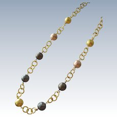 Italian Chain Necklace with Metal Beads of Gold Pewter and Copper