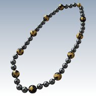 Necklace Onyx Beads with Gold Painted Dragons