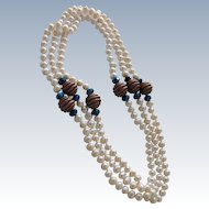 Pearl Necklace with Copper and Blue Cut Glass Beads Fifty Two Inches