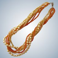 Necklace Fresh Water Champagne Pearls Crystal Glass Beads