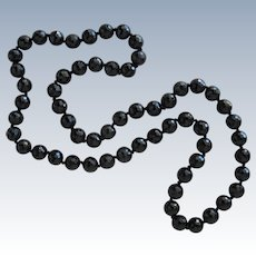 Beaded Necklace of Cut Black Onyx Glass Beads Long 36 Inches