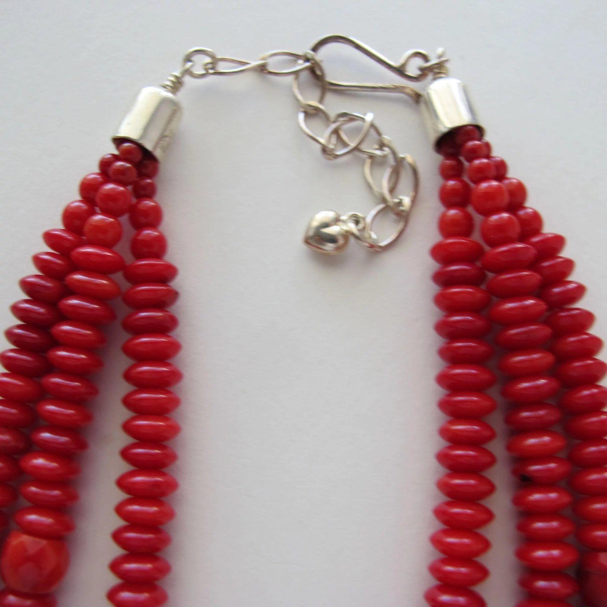 Coral Color Necklace Three Strands With Sterling Silver