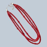 Red Necklace Three Strands with Sterling Silver Clasp
