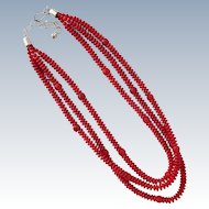 Coral Color Necklace Three Strands with Sterling Silver Clasp