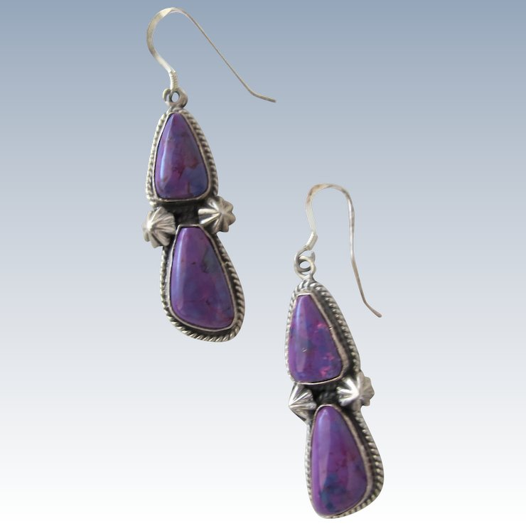 Vintage Sterling Silver Earrings With Purple Turquoise Stone American Indian Style