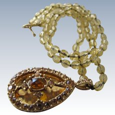 Crystal  Beaded Necklace  Jeweled Pendant Locket Citrine Topaz Stones