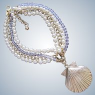 Necklace Faux Pearls Designer Badgley Mischka Crystal Beads Shell Pendant