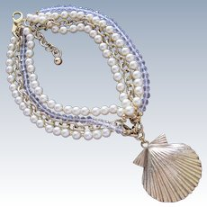 Designer Necklace Faux Pearls by  Badgley Mischka Crystal Beads Shell Pendant in Gold Metal