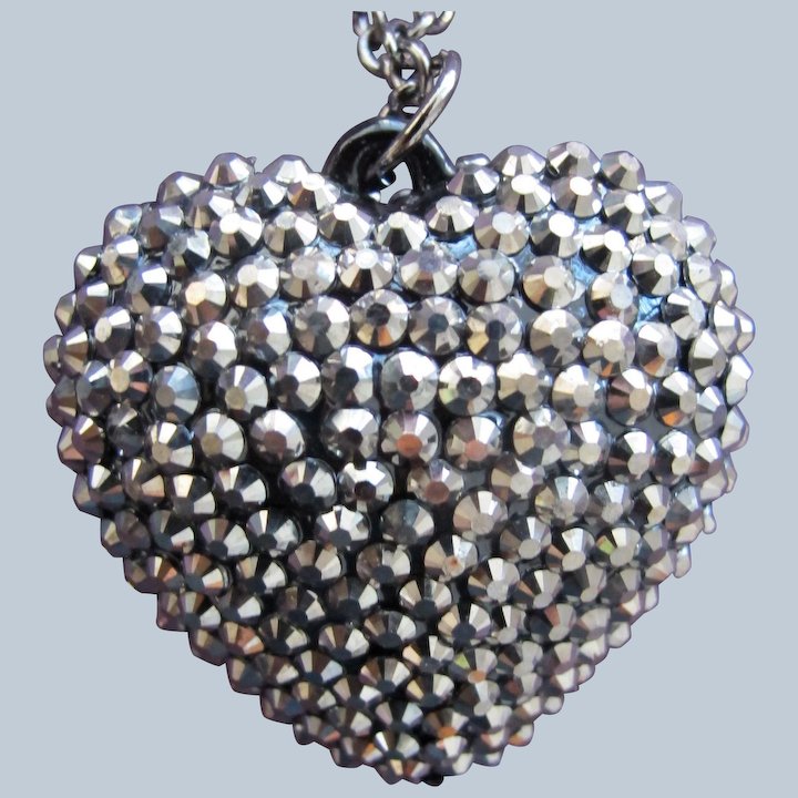 Silver Heart Bead Necklace Free Shipping.
