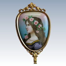 French Enamel Mirror Bronze Antique Limoges Signed by Artist