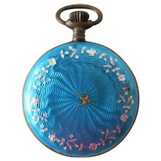 Antique Guilloche Enamel Ladies Watch in Turquoise French Enamel