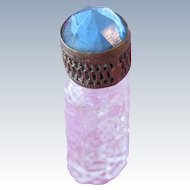 Jeweled Czechoslovakian Perfume Bottle Mini Blue Rhinestone Filigree