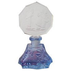 Blue Czechoslovakian Perfume Bottle with Etched Intaglio Stopper with Dutch Girl and Boys