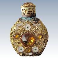 Jeweled Perfume Bottle Czechoslovakian Mini Purse Perfume Gold Stones