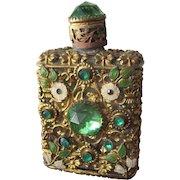 Czechoslovakian Jeweled Perfume Bottle  Mini Purse Perfume Green Stones 1920-1930's
