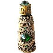 Czechoslovakian Perfume Bottle Jeweled Green Glass Stones with Filigree