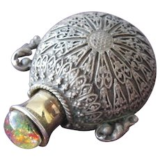 Chatelaine Perfume Bottle Pewter with Glass Stone