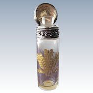Scent Bottle Sterling Silver Gold Etched Glass Victorian Salts Bottle