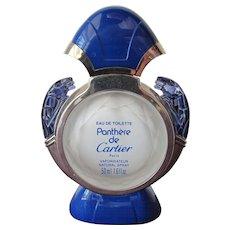 Rare Blue Perfume Bottle by Cartier Panthere de Cartier Empty