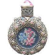Austrian Jeweled Perfume Bottle Pink Rhinestones and Petit Point Filigree