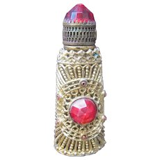 Czechoslovakia Jeweled Perfume Bottle Mini Purse Perfume Red