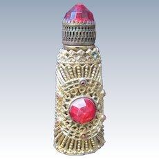 Czechoslovakia Jeweled Perfume Bottle Mini Purse Perfume Red