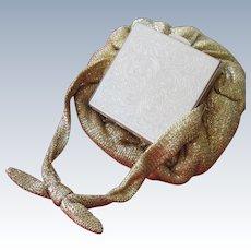 Compact Purse Pouch Handbag Metallic Gold Fabric Great Condition 1950's