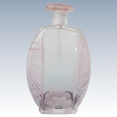 Czechoslovakian Perfume Bottle Crystal with Pink Stain Long Dauber 1920's-30's