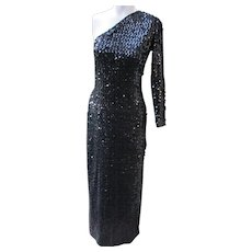Vintage Sequin Dress Gown in Black 1980's from X-Playboy Bunny