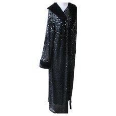 Couture Evening Coat with Black Sequins Long 1980's Glamour