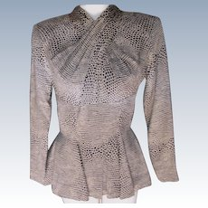 Couture Designer Blouse Vicky Tiel Sold by Bergdorf Goodman N.Y. Animal Print