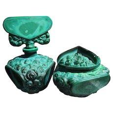 Czechoslovakian Perfume Bottle and Powder Bowl Set Roses of Malachite Glass 1920-1930